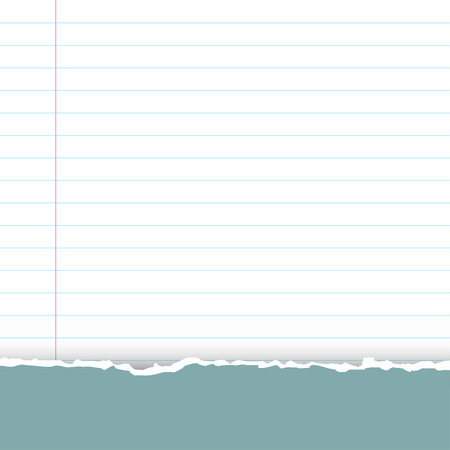 A sheet of white striped paper with a left margin. Classic note for study. From above a green-blue fragmentary piece from a cover of a notebook.Torn paper with copy space for your text.