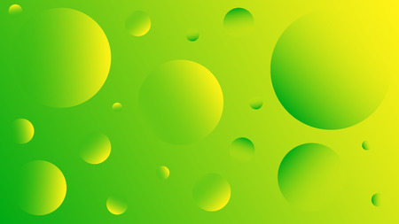 Bright abstract background of yellow and green circles. Background for advertising, cards, banners, messages, landing page. Disco style. Saturated colors. Zine culture. Abstract planets in space.