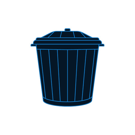 Blue closed trash bin on white isolated background.