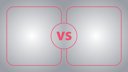 Versus screen.Banner in a simple flat line style.Football field. Red and gray color. Illustration
