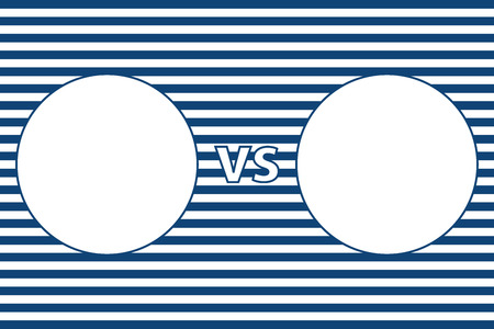 The frame in the form of two circles on the background of blue and white stripes. Versus screen.Marine theme.
