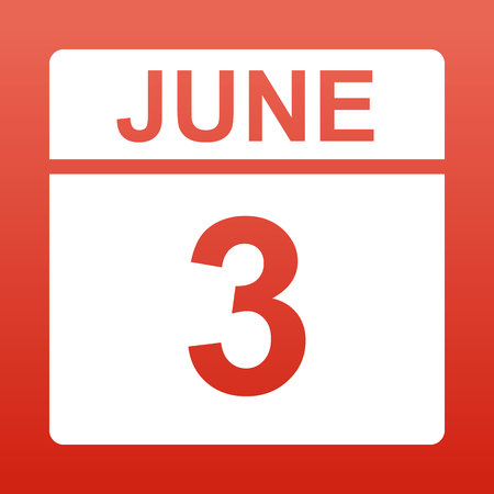 June 3. White calendar on a colored background. Day on the calendar. Red background with gradient. Simple vector illustration.