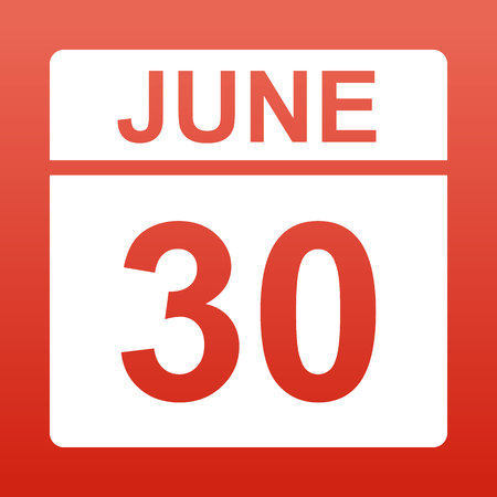June 30. White calendar on a colored background. Day on the calendar. Red background with gradient. Simple vector illustration.