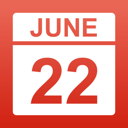 June 22. White calendar on a colored background. Day on the calendar. Red background with gradient. Simple vector illustration. Illusztráció