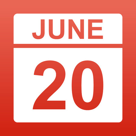 June 20. White calendar on a colored background. Day on the calendar. Red background with gradient. Simple vector illustration.