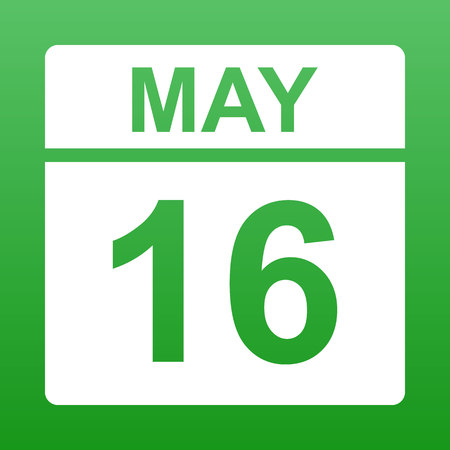 May 16. White calendar on a colored background. Day on the calendar. Green background with gradient. Simple vector illustration.