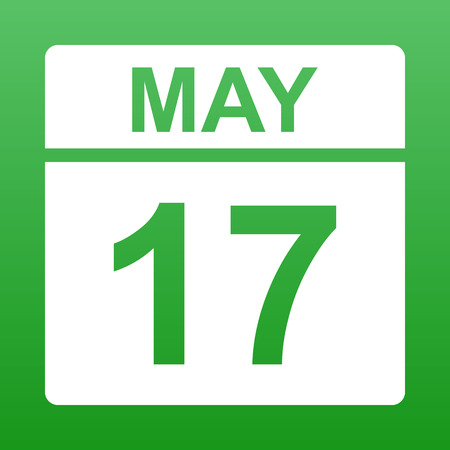May 17. White calendar on a colored background. Day on the calendar. Green background with gradient. Simple vector illustration.