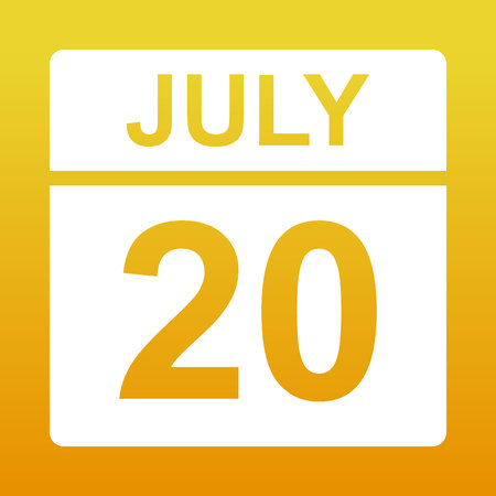 July 20. White calendar on a colored background. Day on the calendar. Yellow background with gradient. Simple vector illustration.