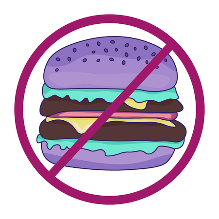 Stop fast food. Burger on isolated white background with stop symbol.Purple burger in pastel tones. Fast food concept.