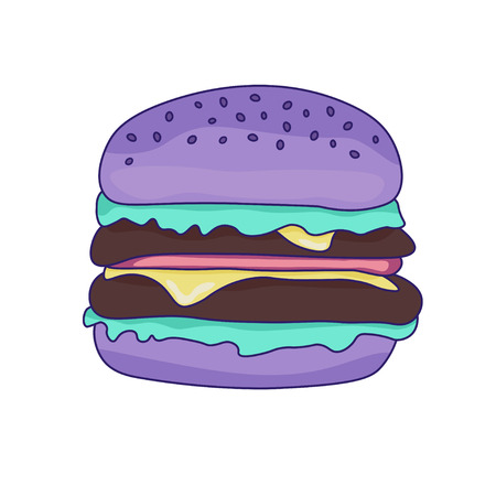 Purple color hamburger in pastel colors. Burger on a white isolated back ground.