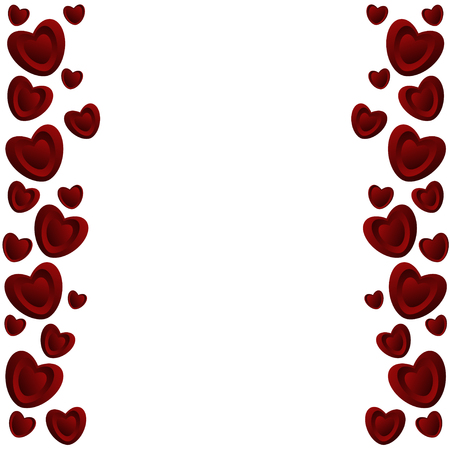 Love card  of red  hearts. Frame of hearts.