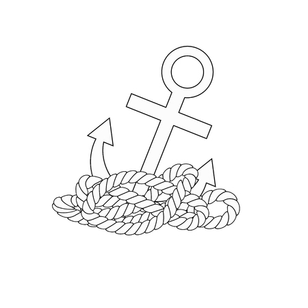 White anchor icon with rope on white background. Anchor on a white isolated background. Imagens
