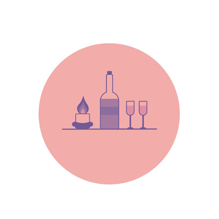 A bottle of wine, glasses and a burning candle. Illustration in gentle pastel purple tones. Color  icon in the circle.Celebratory concept. Stock Photo