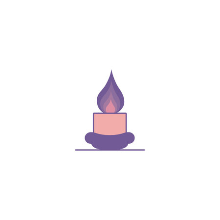 A short burning candle on a stand. Illusion on an isolated white background in a flat modern style in purple-tone tones. Concept for Christmas and Halloween.