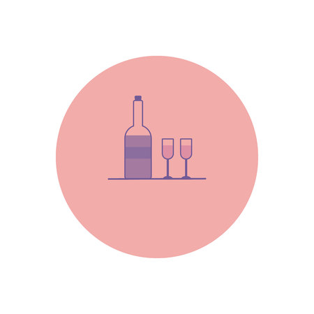 A bottle of wine and glasses. Illustration in gentle pastel purple tones. Color icon in the circle. Celebratory concept.
