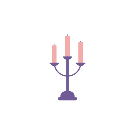 Candlestick with three candles.Illusion on an isolated white background in a flat modern style in purple-tone tones. Banque d'images