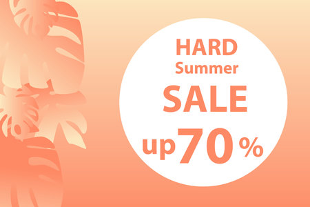 Banner, a hard  summer sale up 70 percents  in orange tones . Peach background. Tropical plants. Procurement for the announcement.Illustration.