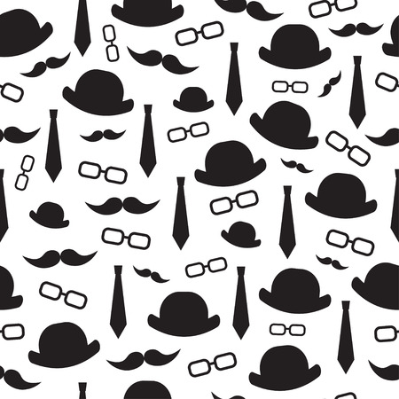 Background of men's hat, glasses, tie, mustache. Seamless background.Illustration. Father's day.Elements of a gentleman.