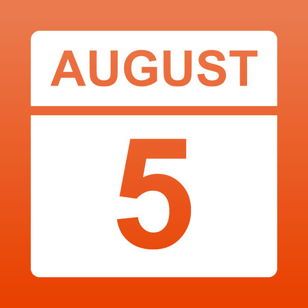 August 5. White calendar on a  colored background. Day on the calendar.Fifth of august. Red background with gradient. Simple vector illustration.
