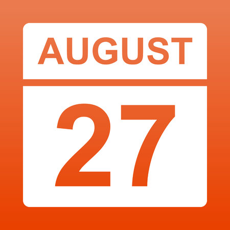 August 27. White calendar on a  colored background. Day on the calendar.  Twenty seventh of august. Red background with gradient. Simple vector illustration.