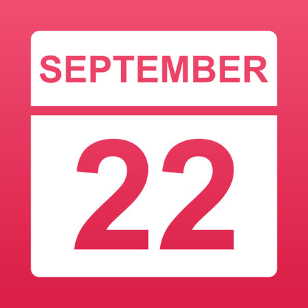 September 22. White calendar on a  colored background. Day on the calendar. Twenty second of september. Raspberry background with gradient. Simple vector illustration.