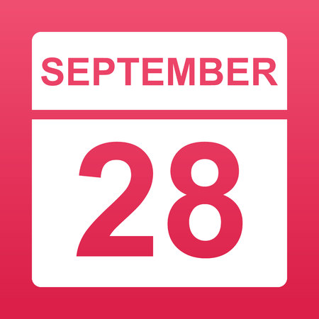 September 28. White calendar on a  colored background. Day on the calendar. Twenty-eighth of  september. Raspberry background with gradient. Simple vector illustration. Ilustração