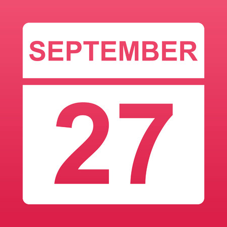 September 27. White calendar on a  colored background. Day on the calendar. Twenty seventh of  september. Raspberry background with gradient. Simple vector illustration.