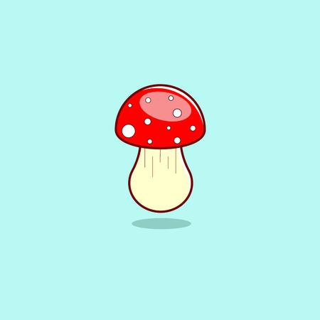 Amanita in cartoon style. Mushroom on a blue background. Childrens illustration in a modern linear flat design.  Vector illustration.