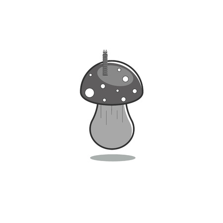 Mushroom fly agaric with a worm on a bonnet. Vector illustration in monochrome gray tones on an isolated background. Children's illustration.