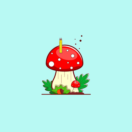 Mushroom fly agaric with a worm, leaves and an acorn. Forest composition in color tones. Vector illustration.