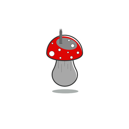 Mushroom fly agaric with a worm on isolated background in gray tones and red cap. Childrens illustration.Vector illustration.