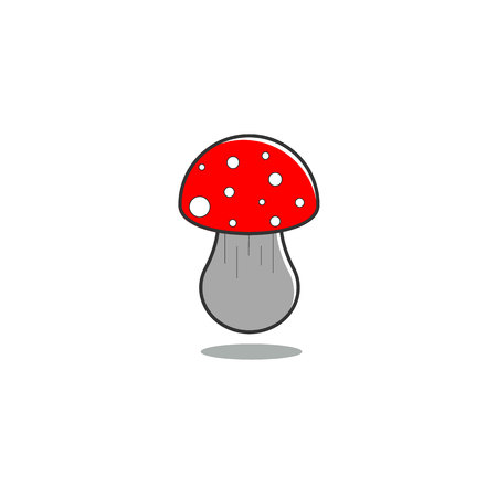 Mushroom fly agaric on isolated background in gray tones and red cap. Children illustrayion.Vector illustration.