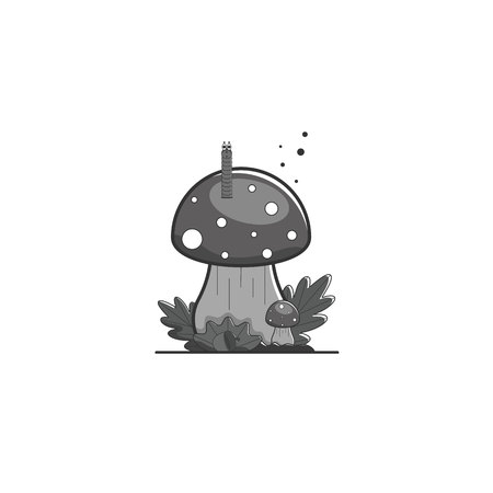 Mushroom amanita with a worm, leaves and an acorn. Forest composition in monochrome gray tones. Childrens illustration. Vector illustration. Illustration