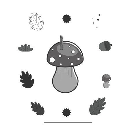 Set of forest elements: amanita, mushroom, worm, leaf, oak, acorn. Vector illustration in monochrome gray tones on an isolated background. Flat style.