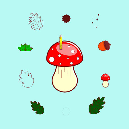 Set of forest elements: fly agaric, mushroom, worm, leaf, oak, acorn.Vector illustration in colorful tones on an isolated background. Ilustração