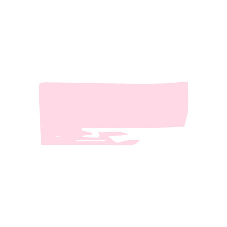 Pink hand draw pastel brush stroke. Decorative pastel colored frame on a white isolated background. Grunge banner, substrate. Illustration.