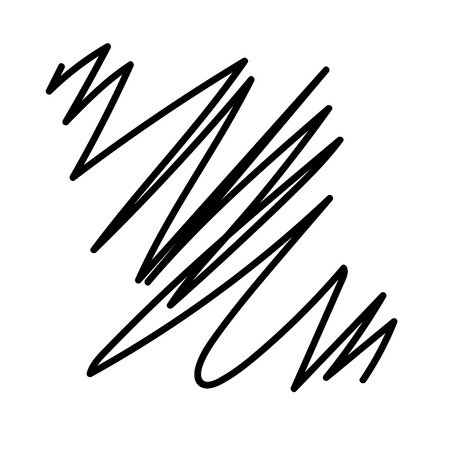 Hand drawn lines with black marker. Abstract background.Decorative lines isolated on white background. Element for design. Illustration.