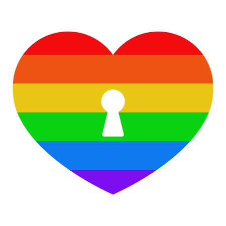 Heart with a lock sign. Icon with a LGBT flag on a white isolated background. Illustration. Imagens