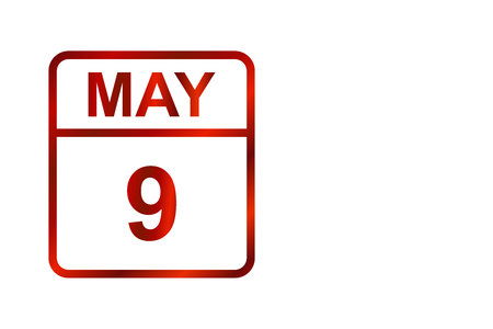 9 may. Victory day. Red calendar on a white background.Day on the calendar.Copy space. Illustration.