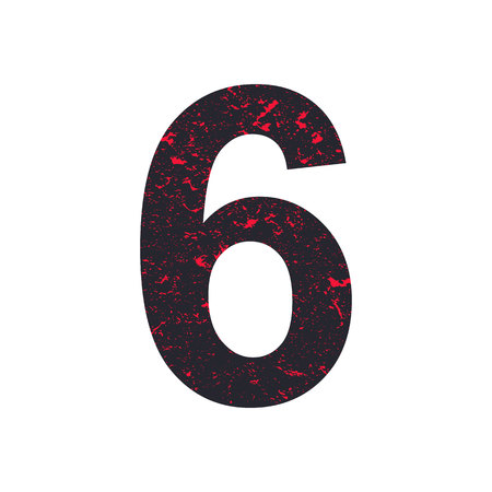Number six. 6 stylized grunge texture. Red-black stone texture. Illustration.