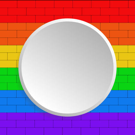 Brick wall of the color of the rainbow. Flag of national minority LGBT. White banner on background. Illustration.