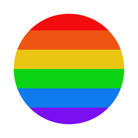 Circle with LGBT flag texture. Icon on white isolated background. Colorful stripes.  Illustration.