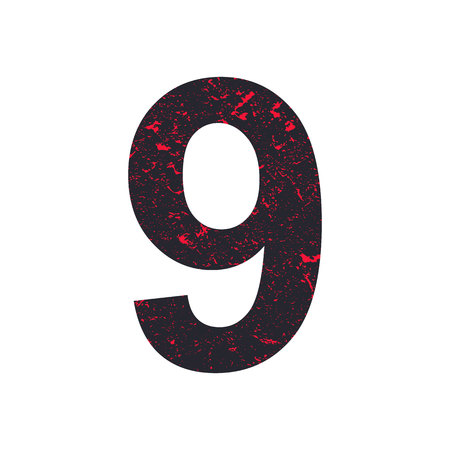 Number nine. 9 stylized grunge texture. Red-black stone texture. Illustration. Imagens