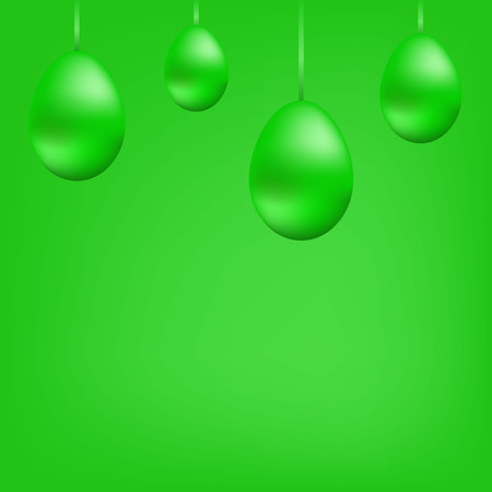 Bright banner of green hanging eggs on the tape.Copy space. Green balls. Christmas card. Illustration. Imagens