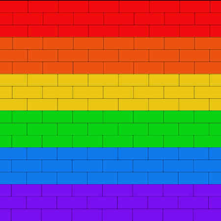 Brick wall colored in lgbt flag. Colorfull background. Brick texture. Illustration.