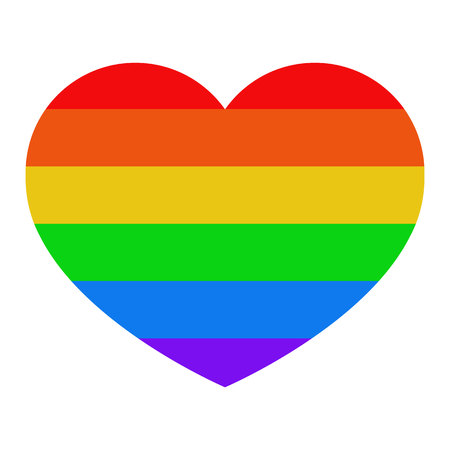 Heart with LGBT flag on white isolated background. Colorful stripes. Concept.  Illustration. Imagens