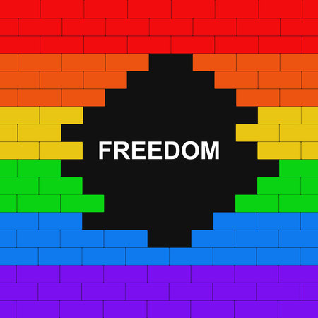 Brick wall colored in lgbt flag with text freedom on black background. Concept. Illustration.