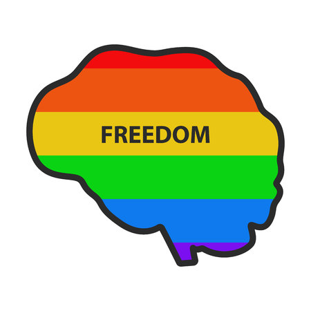 Icon of a human brain with the inscription Freedom on the background of the flag lgbt. Concept. Illustration.