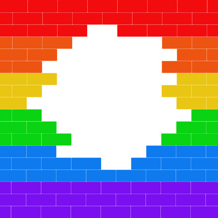 Broken brick wall colored lgbt flag with place for text. Copy space. Illustration. Imagens