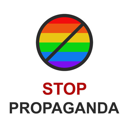 The crossed sign for the flag of national minorities lgbt. Under the icon word stop propaganda. Illustration on white isolated background. Imagens